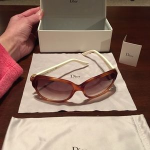 Dior sunglasses, brown and cream frames, NWOT
